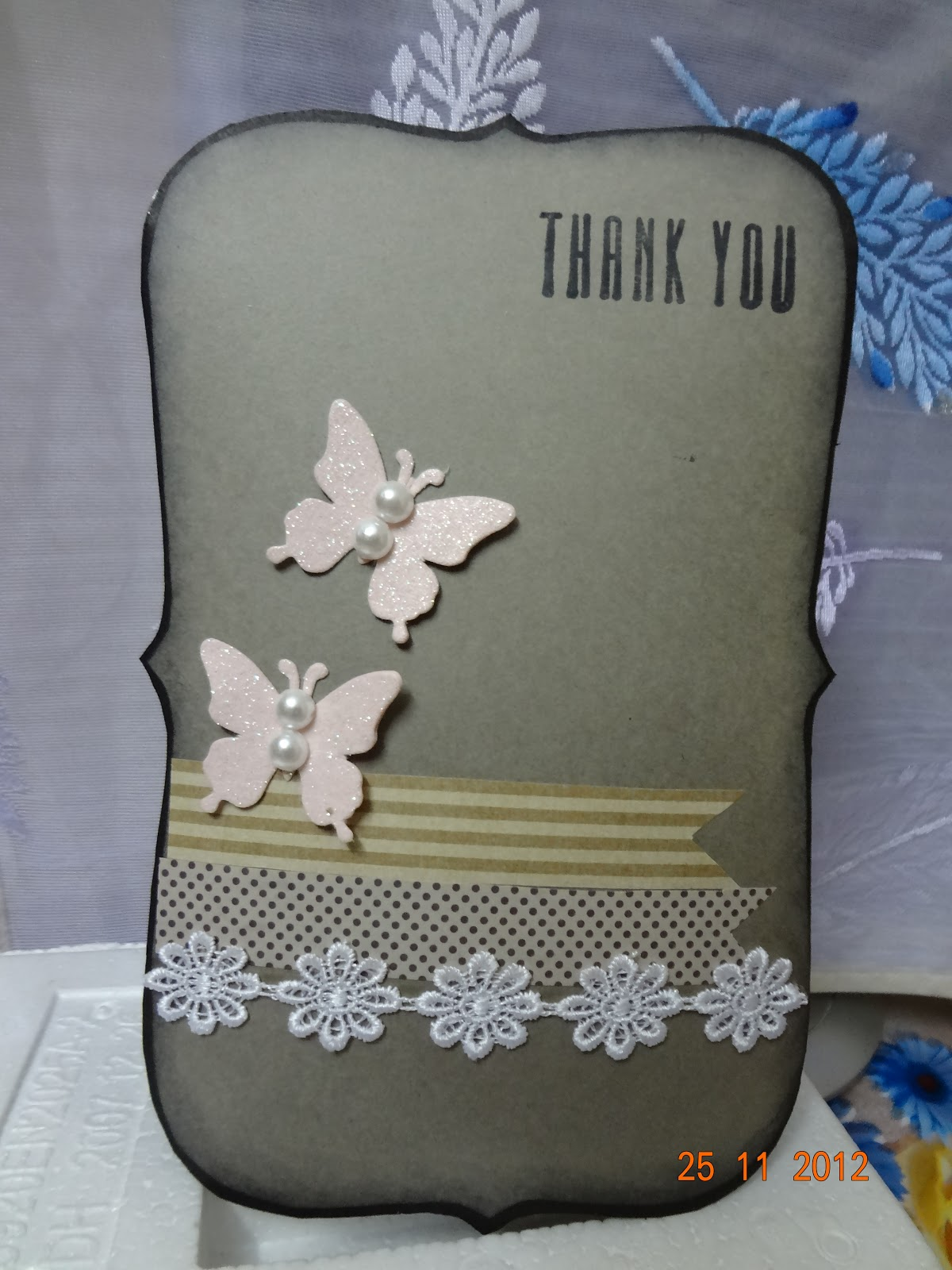 All By Heart: Shaped Shabby Chic Thank You Card.....!!
