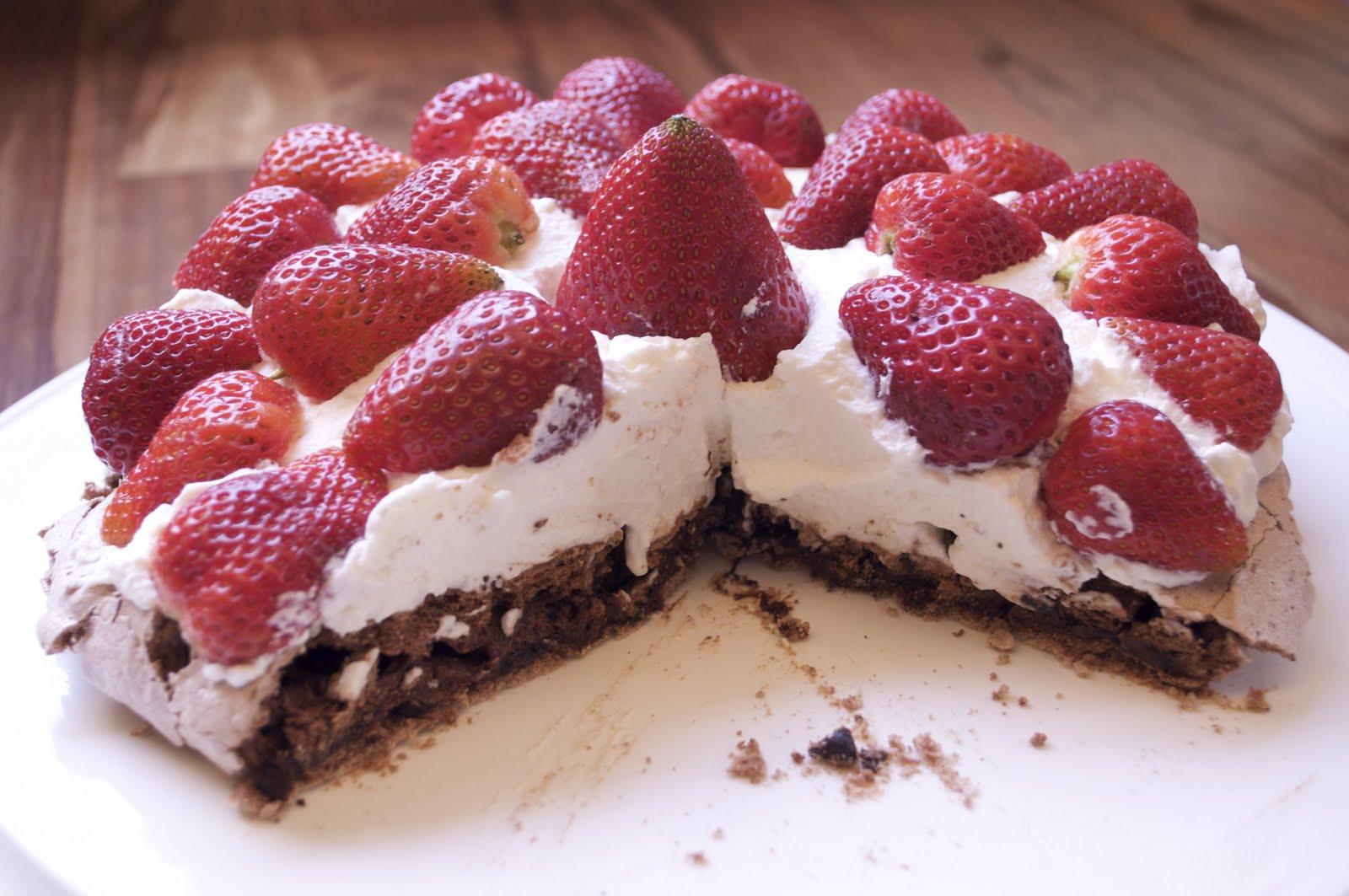 Chocolate Pavlova with Strawberries
