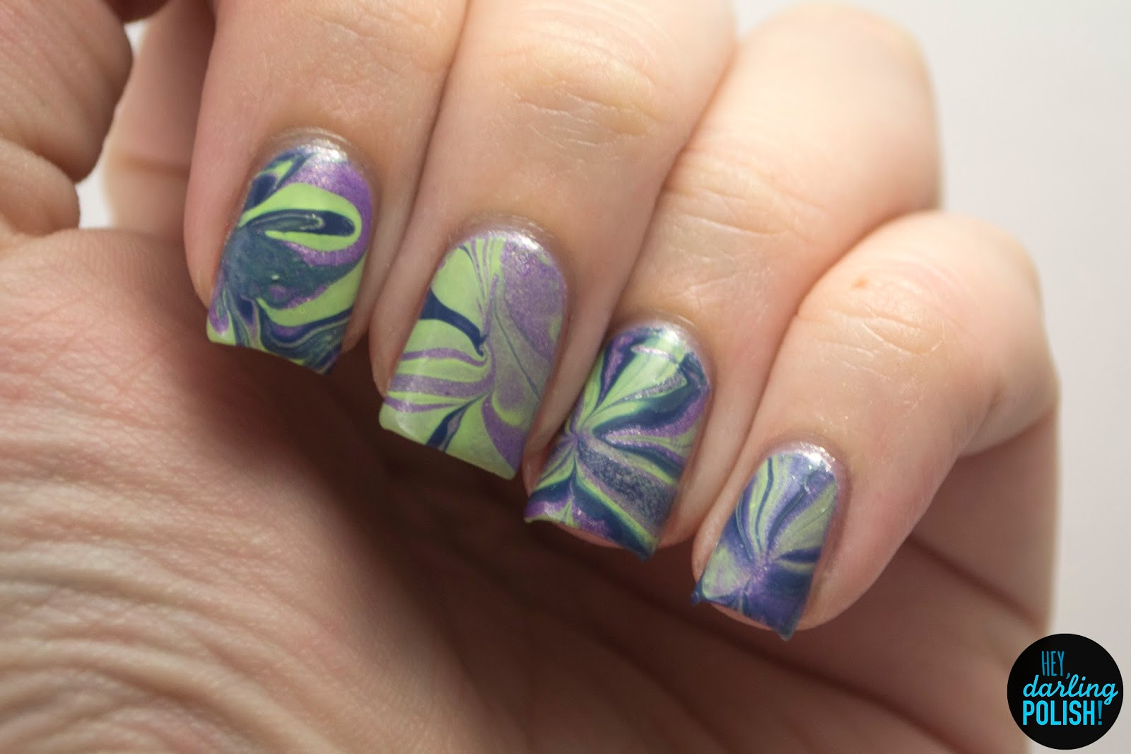 nails, nail art, nail polish, polish, purple, green, blue, watermarble, hey darling polish,