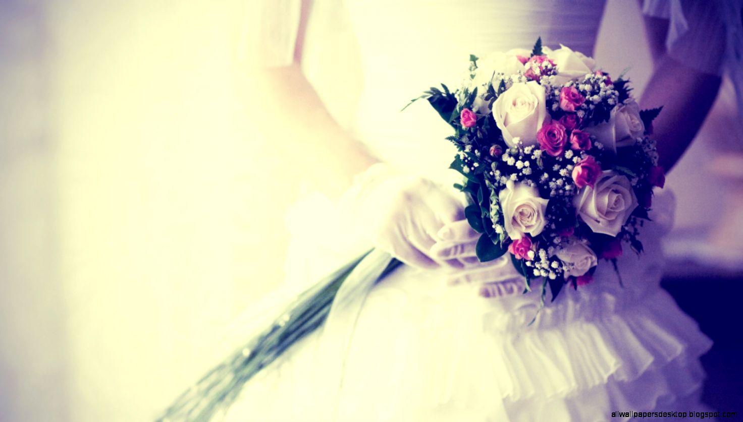 Download Wallpaper 1600x900 Bride Bouquet Flowers Gloves
