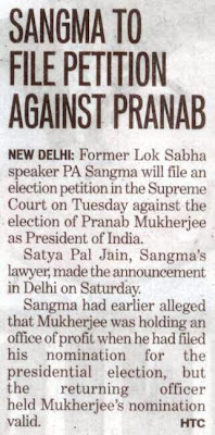 Satya Pal Jain, Sangma's lawyer, made the announcement in Delhi on Saturday.
