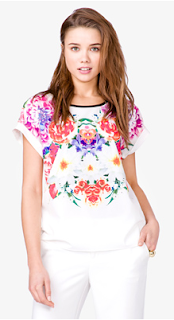 Forever21 Boxy Floral Print Top