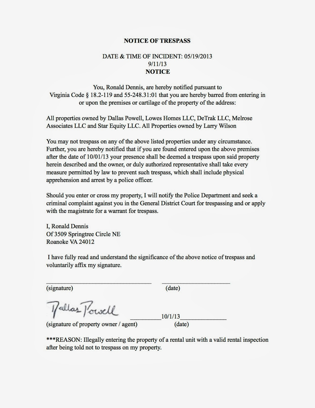 Real estate investors of virginia 2013 ronald dennis notice of trespass fandeluxe Gallery