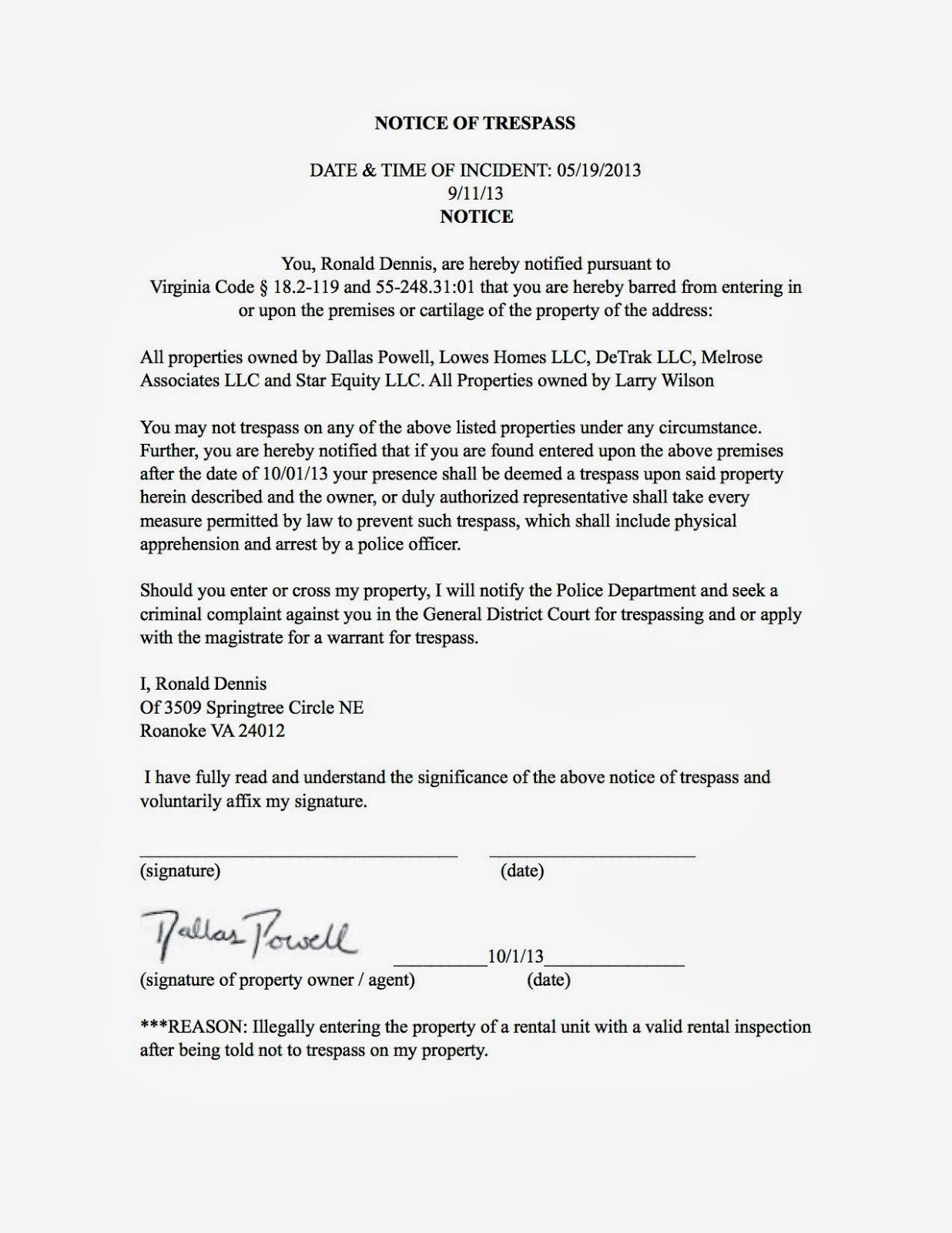 Real estate investors of virginia ronald dennis notice of trespass spiritdancerdesigns Choice Image