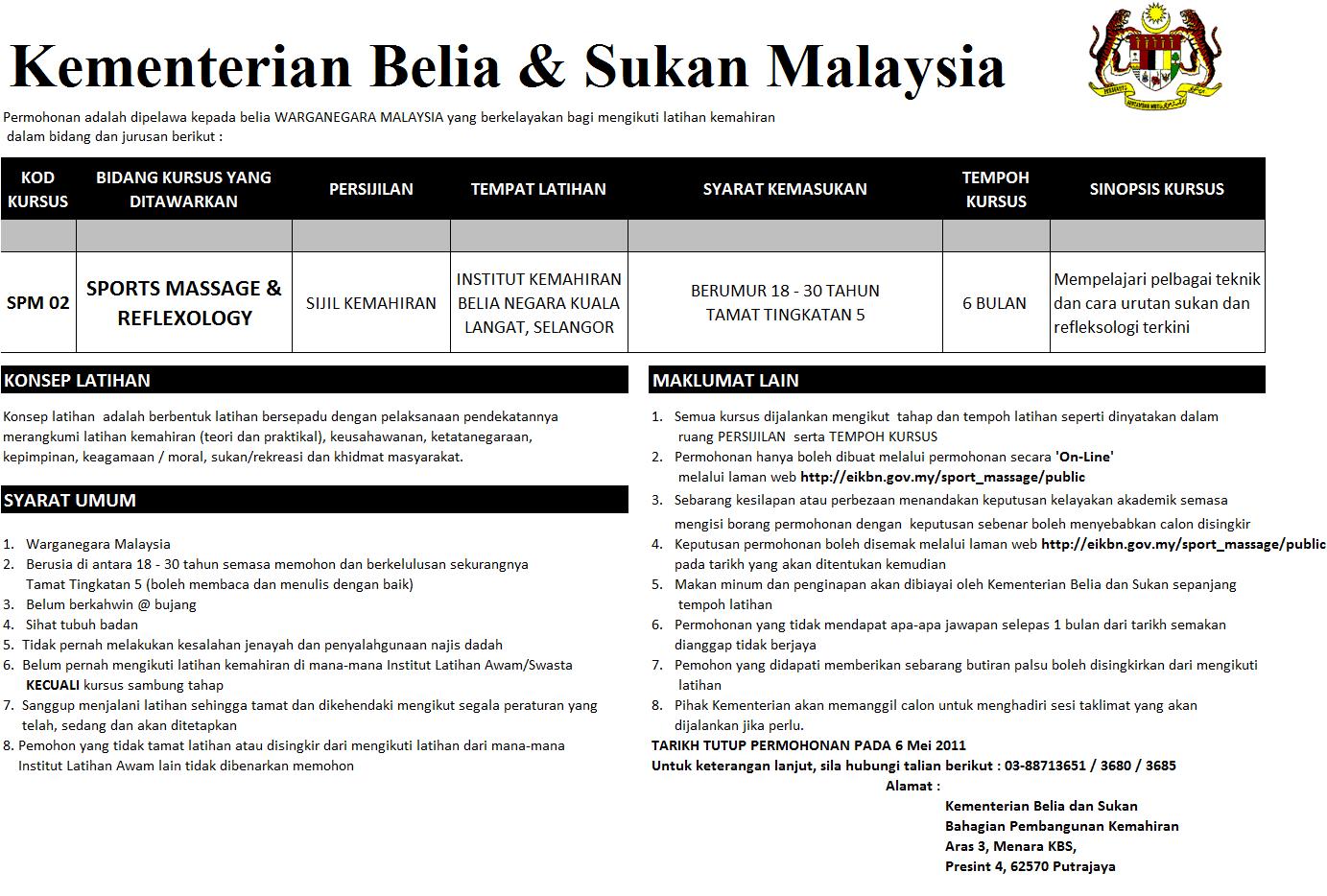 Kementerian belia dan sukan malaysia kursus sport massage reflexology