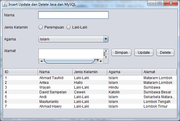 Insert Update dan Delete dengan Java dan MySQL