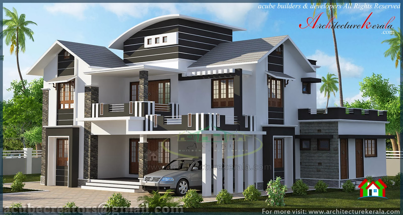 Modern Slope Roof Elevation Architecture Kerala