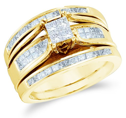 this dazzling diamond item is set in pure 14k yellow gold each one of the diamonds is 100 real and natural this popular princess cut diamond engagement - 14k Gold Wedding Ring Sets