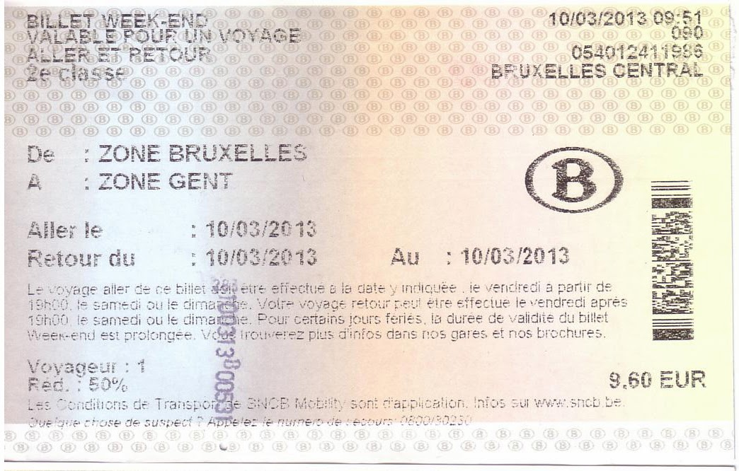 Billete de tren Bruselas-Gante con tarifa week-end