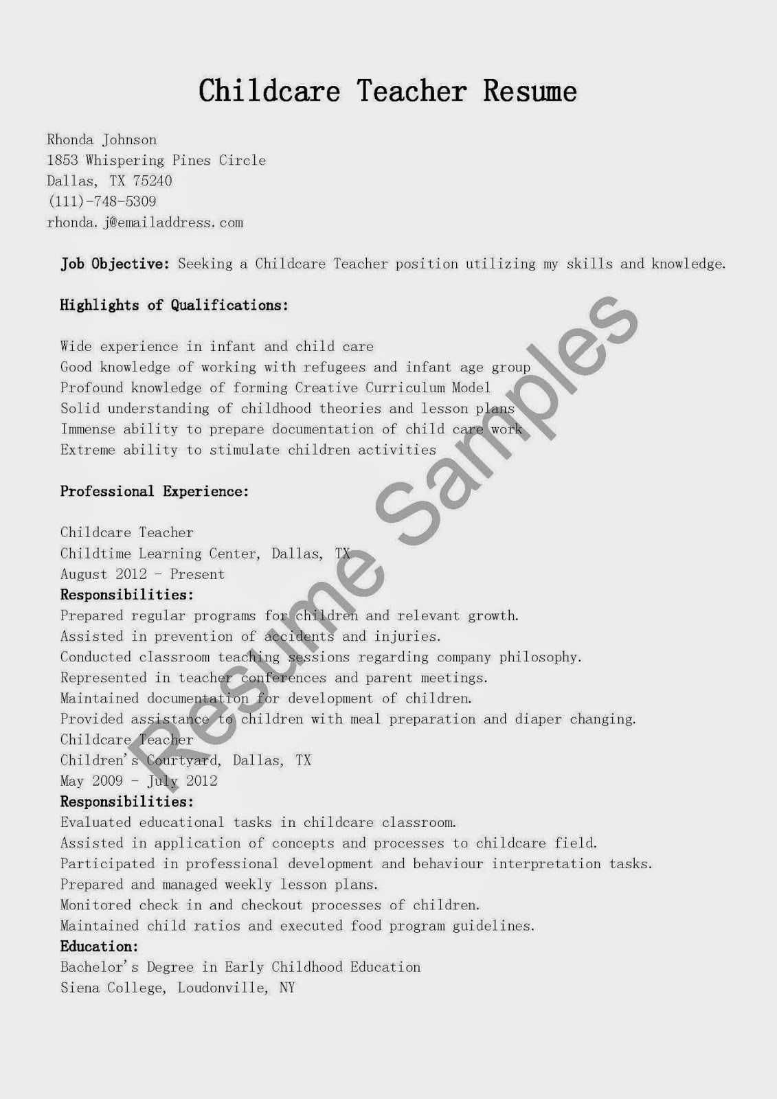 resume samples childcare teacher resume sample