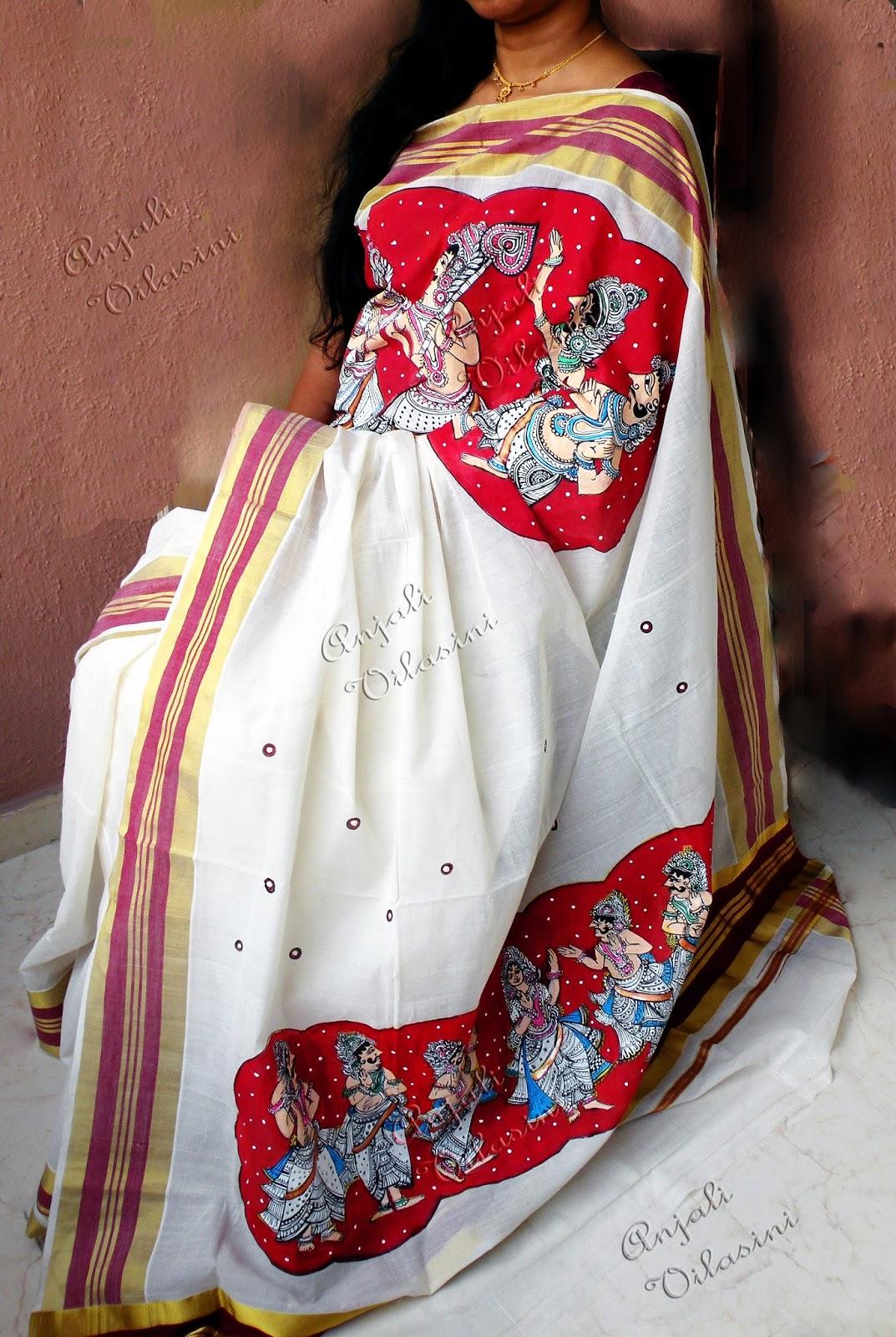 Anjali Vilasini: fabric painting - kalamkari style on kerala saree ... for Fabric Painting Designs For Kerala Sarees  56mzq