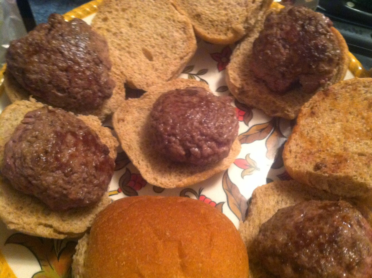 Lamb Sliders await the Provencal Pesto. Cooking Chat recipe.