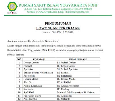 Formasi Lowongan Kerja RSIY PDHI Jogja