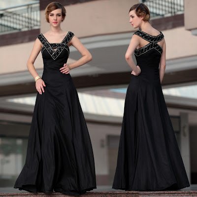 Black V-Neck Floor Length Dress
