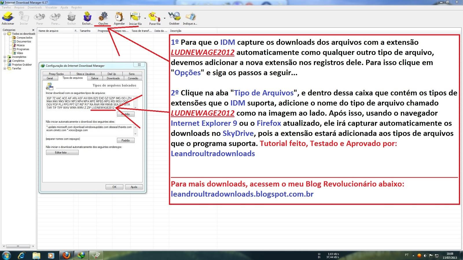 Como Baixar Arquivos com a Extensão LUDNEWAGE2012 no SkyDrive Pelo Gerenciador de Downloads IDM 2º Parte