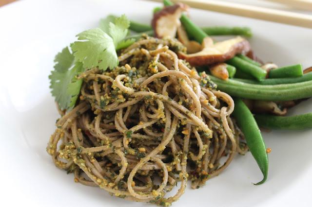 Thai Basil & Peanut Pesto Buckwheat Pasta - flora foodie