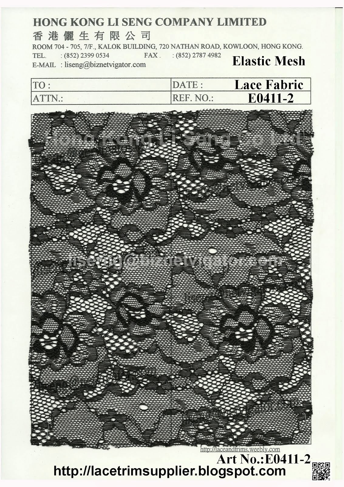 Elastic Mesh Lace Fabric Manufacturer and Supplier - Hong Kong Li Seng Co Ltd