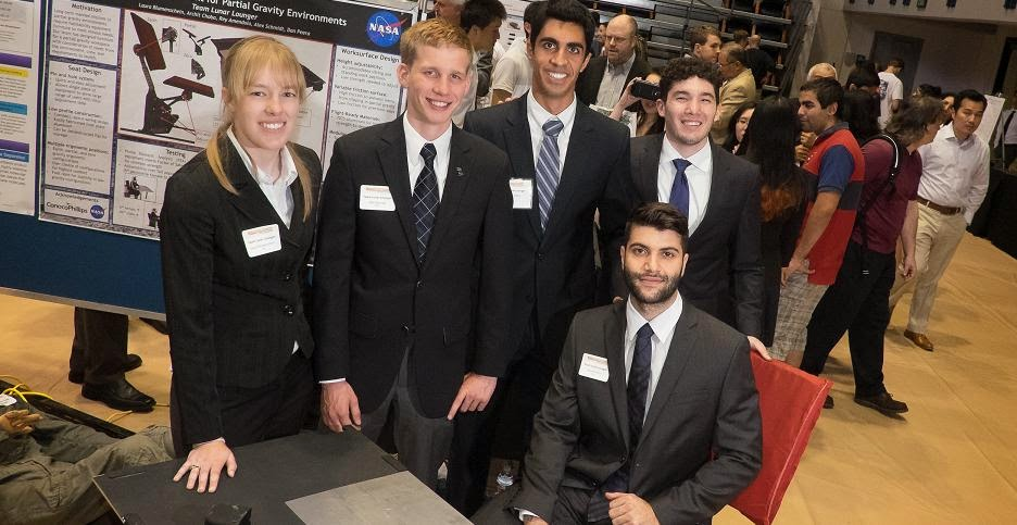 Rice University students, in collaboration with NASA, have designed prototypes of a simple and flexible set of furniture for future space habitats. Standing from left: Laura Blumenschein, Alex Schmidt, Archit Chaba and Rey Amendola. Seated, Daniel Peera. Credit: Jeff Fitlow/Rice University