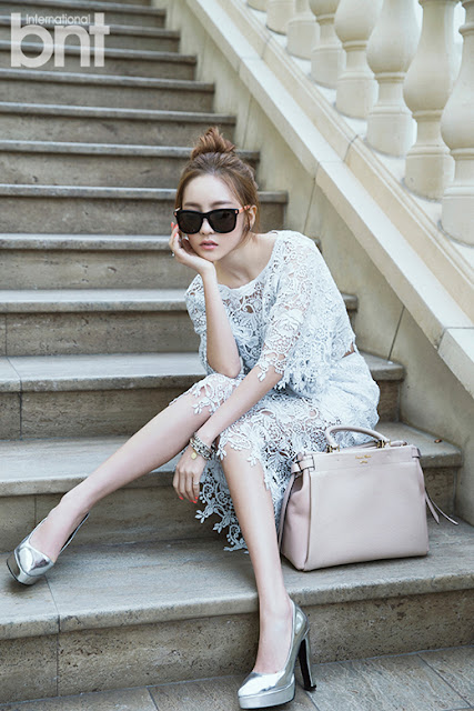 Goo Hara's White Lace Dress Style