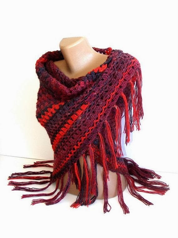 colorful crocheted shawl women fashion