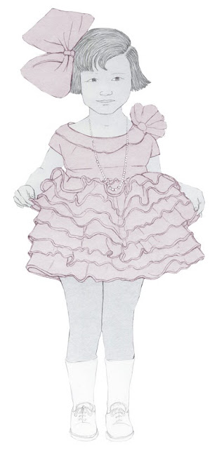 niña, vestidito organdi, dibujo,