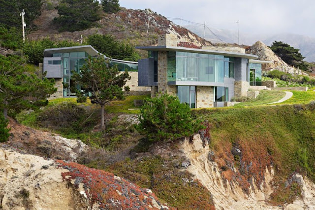 Picture of a modern house built on the cliffs
