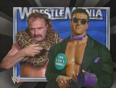 WWF / WWE - Wrestlemania 7: Jake 'The Snake' Roberts battled 'The Model' Rick Martel in a blindfold match