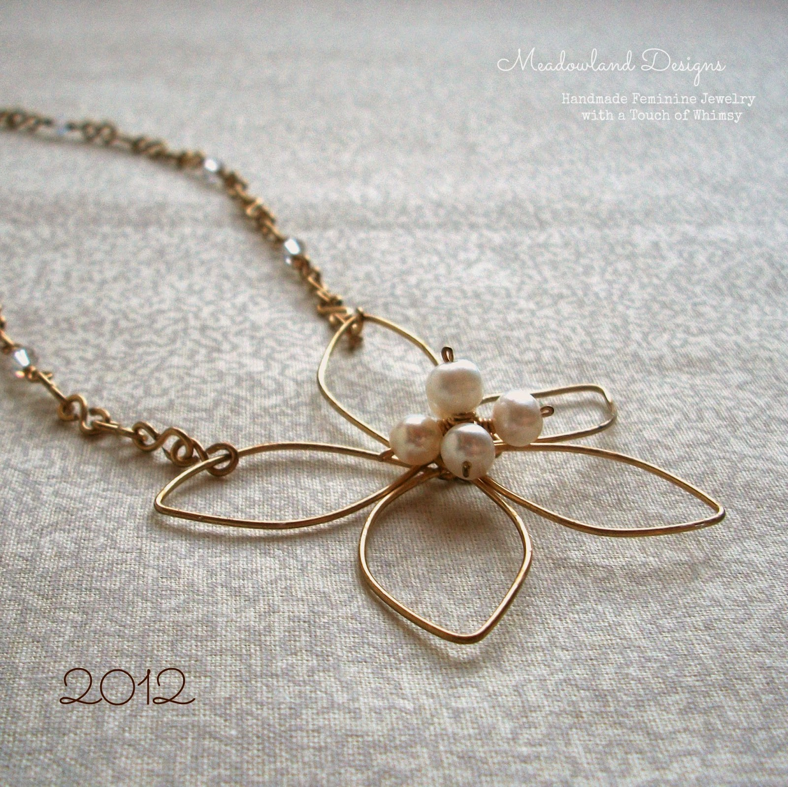 Pearl Flower Wirework Necklace with crystals, 2012