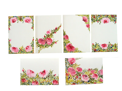 notecards, handpainted,stationery,handmade,diy,occasion,spring,theme,floral,blankcards,gift,pink,roses