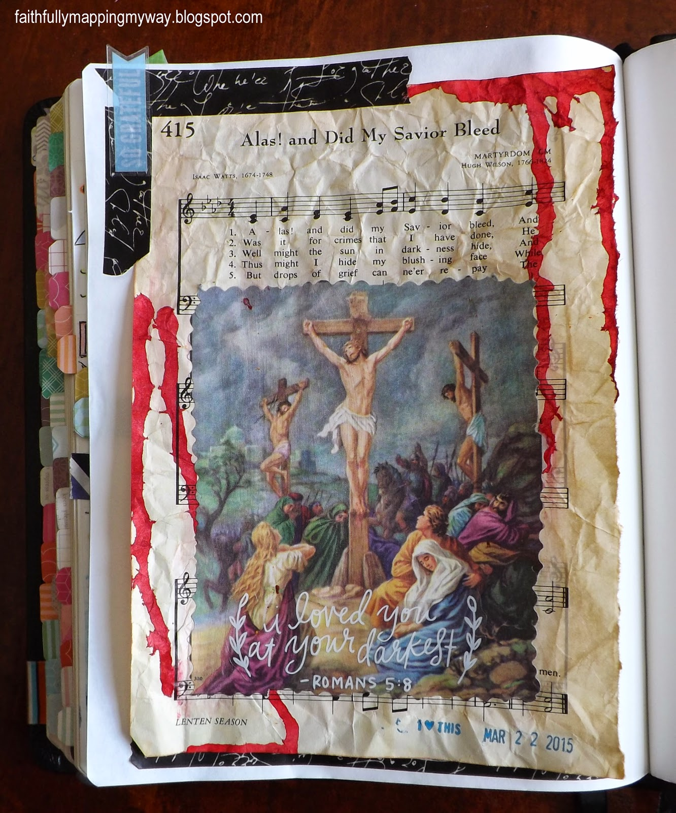Art journaling Bible in Romans 3 and 5 with a hymnal page and illustration.