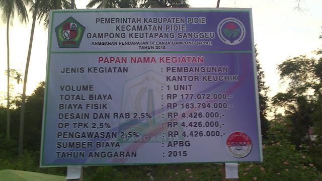 Gambar Papan Proyek Gampong Keutapang Krueng Dhoe, Sanggueu - Pidie.