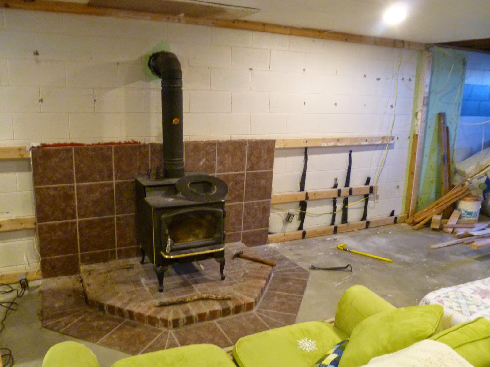 three things very dull indeed basement remodel project wood burner rh threethingsverydullindeed blogspot com wood stove in basement or main floor wood stove in basement venting