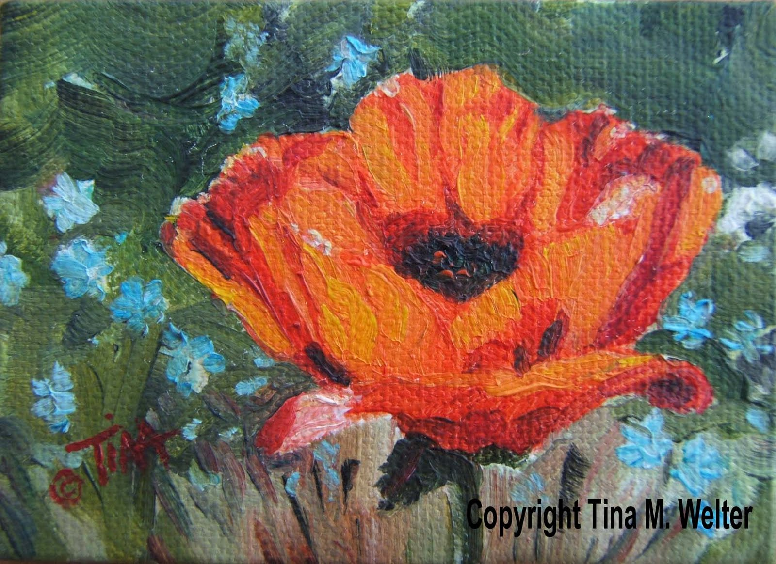 """2.5"""" x 3.5"""" oil on canvas, copyright 2010 Tina M. Welter"""