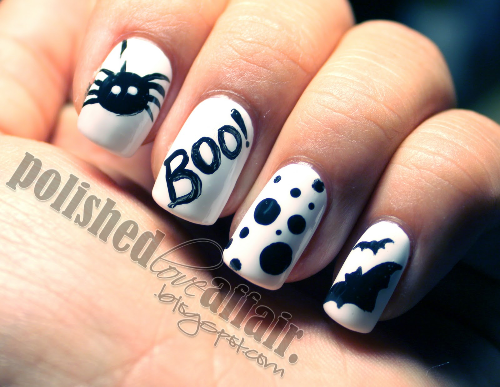 Black and White Spiders and Bats from Polished Love Affair . Simple