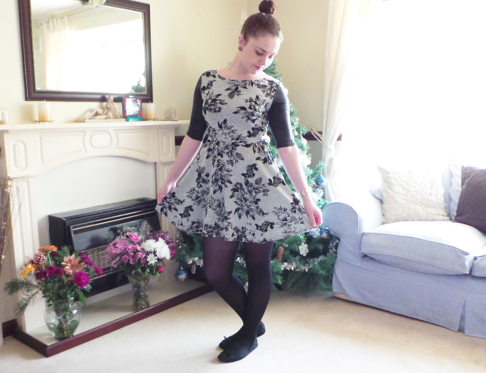 OOTD Blog Post, Fashion - Floral Skater Dress, Primark Dress, Primark £5 Dress, Leather Look Sleeves