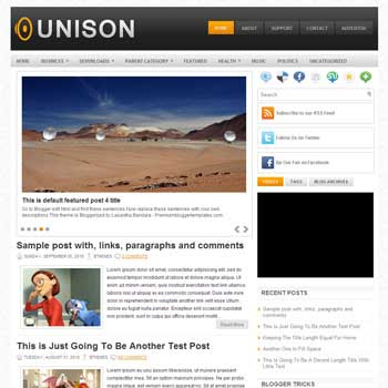 Unison blog template. template image slider blog. magazine blogger template style. wordpress theme to blogger