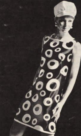 Op' Art 1966 dress 60s 1960 mod black white Optical Monique Dofny