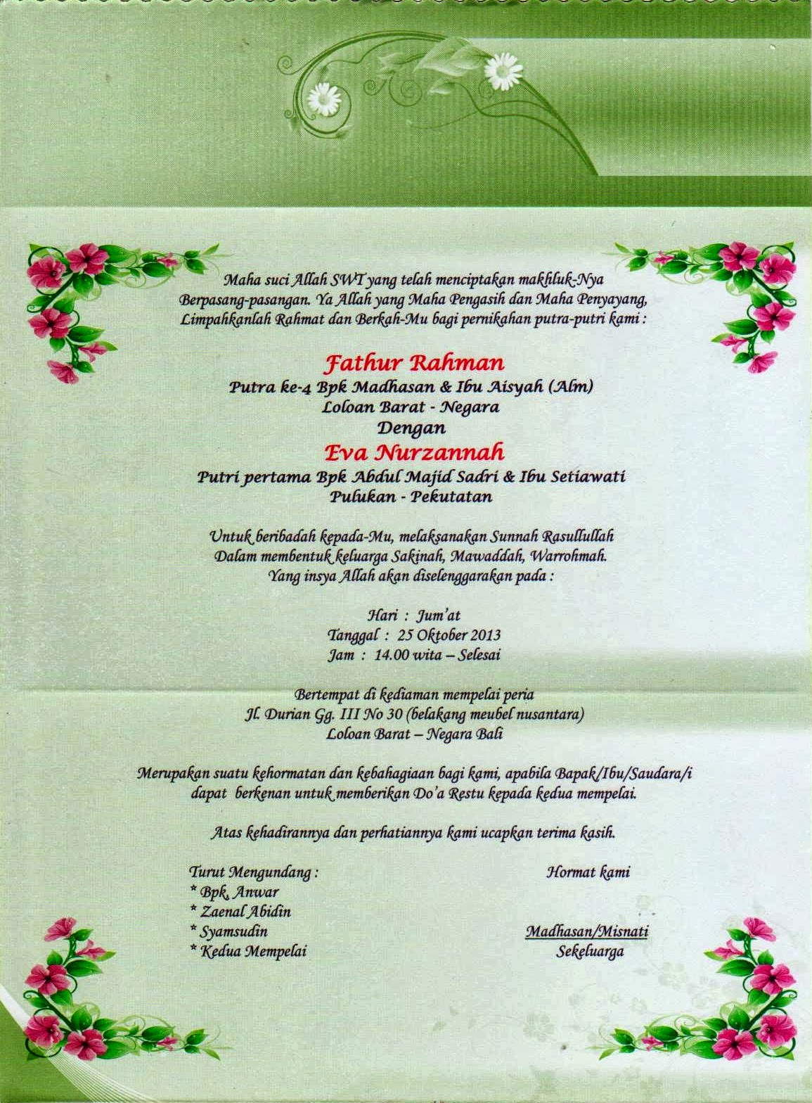 Surat Undangan Pernikahan Resepsi Rb Community