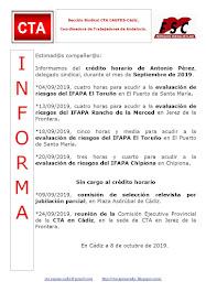 C.T.A. INFORMA CRÉDITO HORARIO ANTONIO PÉREZ, SEPTIEMBRE 2019