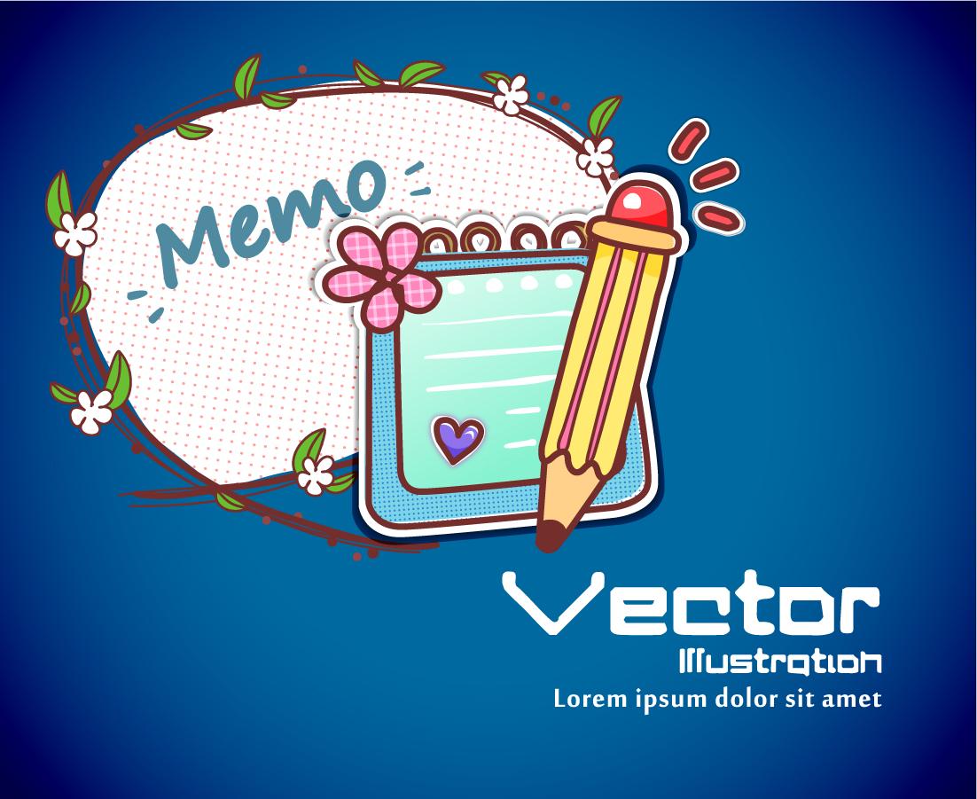 可愛いメモ用紙のステッカー Cartoons pencils stickers イラスト素材