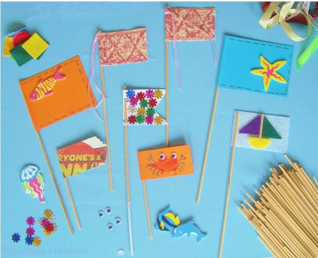 Assortment of Children's Handmade Flags