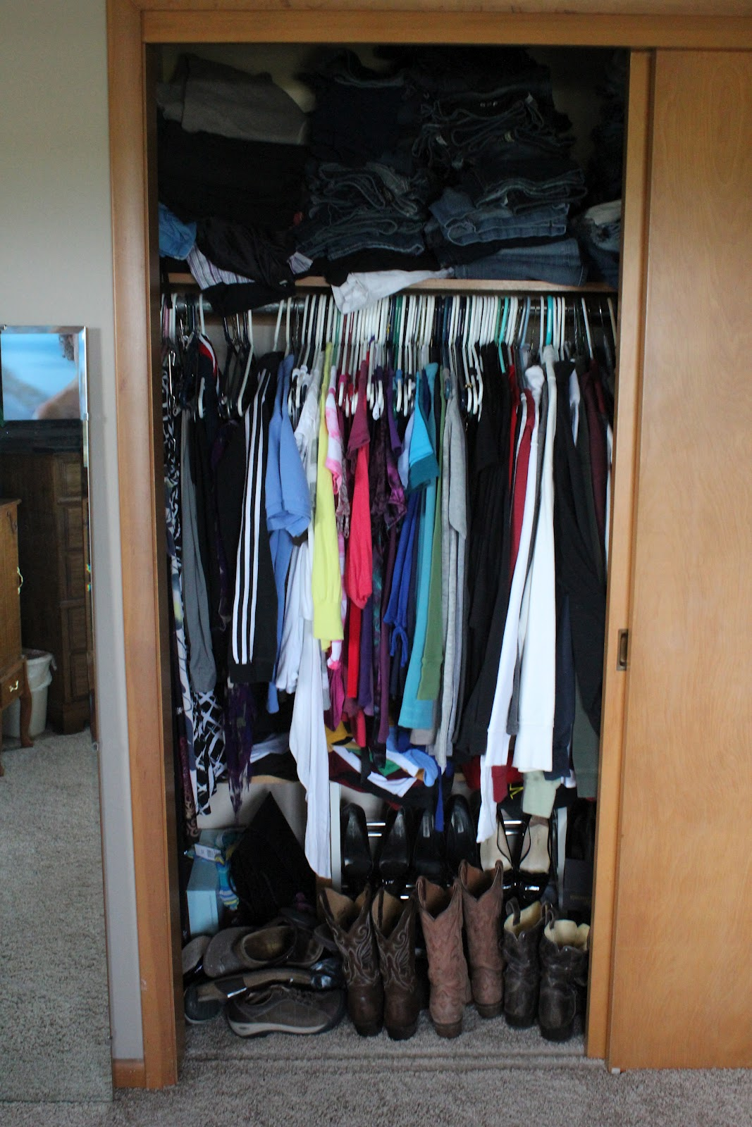 Now I Have A Half Of A Small Closet All To Myself. But We Make It Work.  Itu0027s Obviously Very Messy And Disorganized In The Pictures Belowu2026