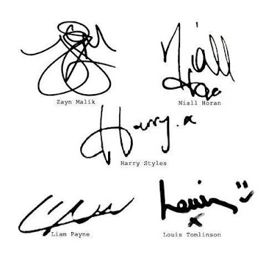 one direction signatures