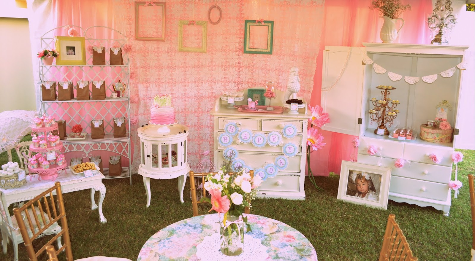 The Tone Of Party Was Set With Pastel Colors Vintage Flower Patterns Polka Dots And That I Created All Labels Favor Tags