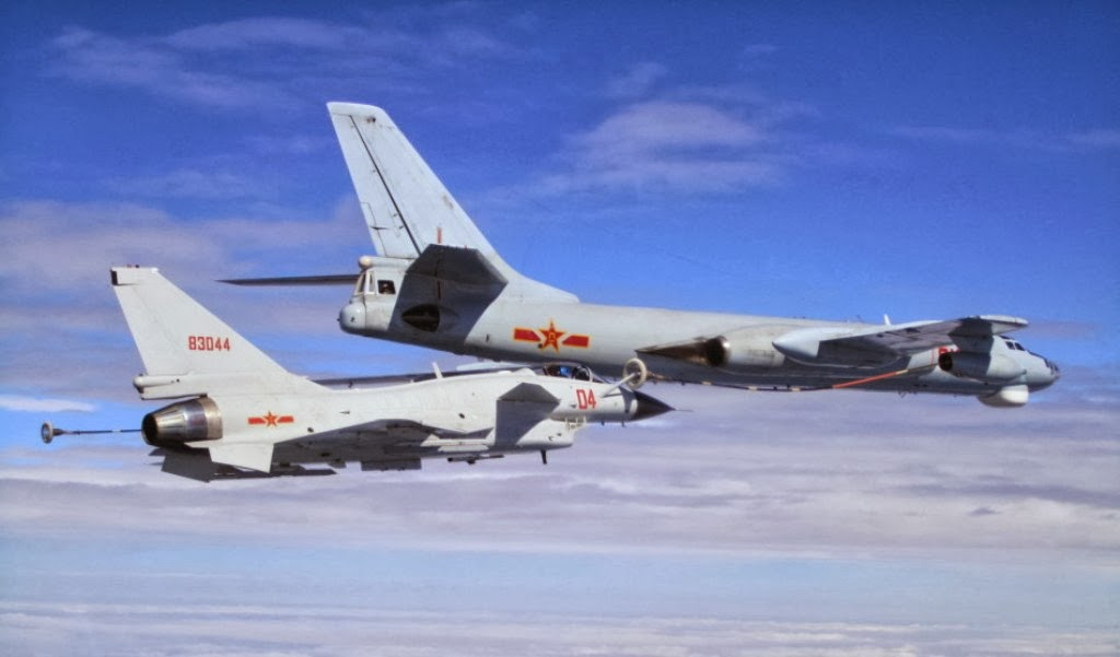 J-10 A Fighter Jets Refueling from PLAAF's H-6U Badger ...