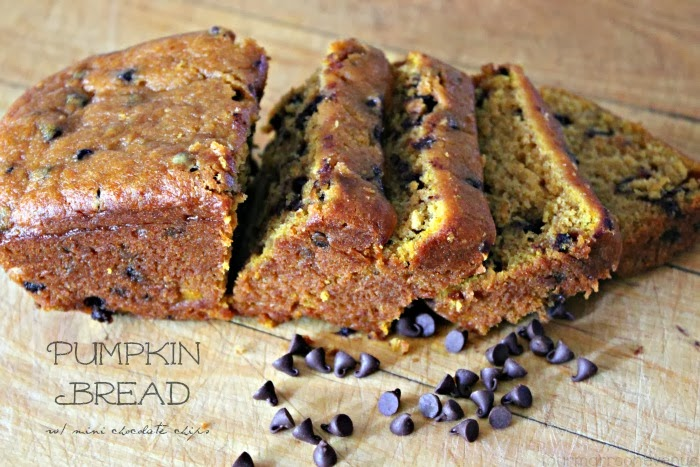 Extra Moist Pumpkin Bread with mini chocolate chips