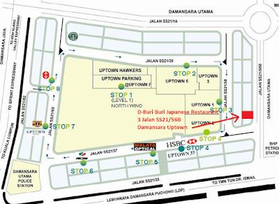 Location map D-Buri Buri Japanese Restaurant