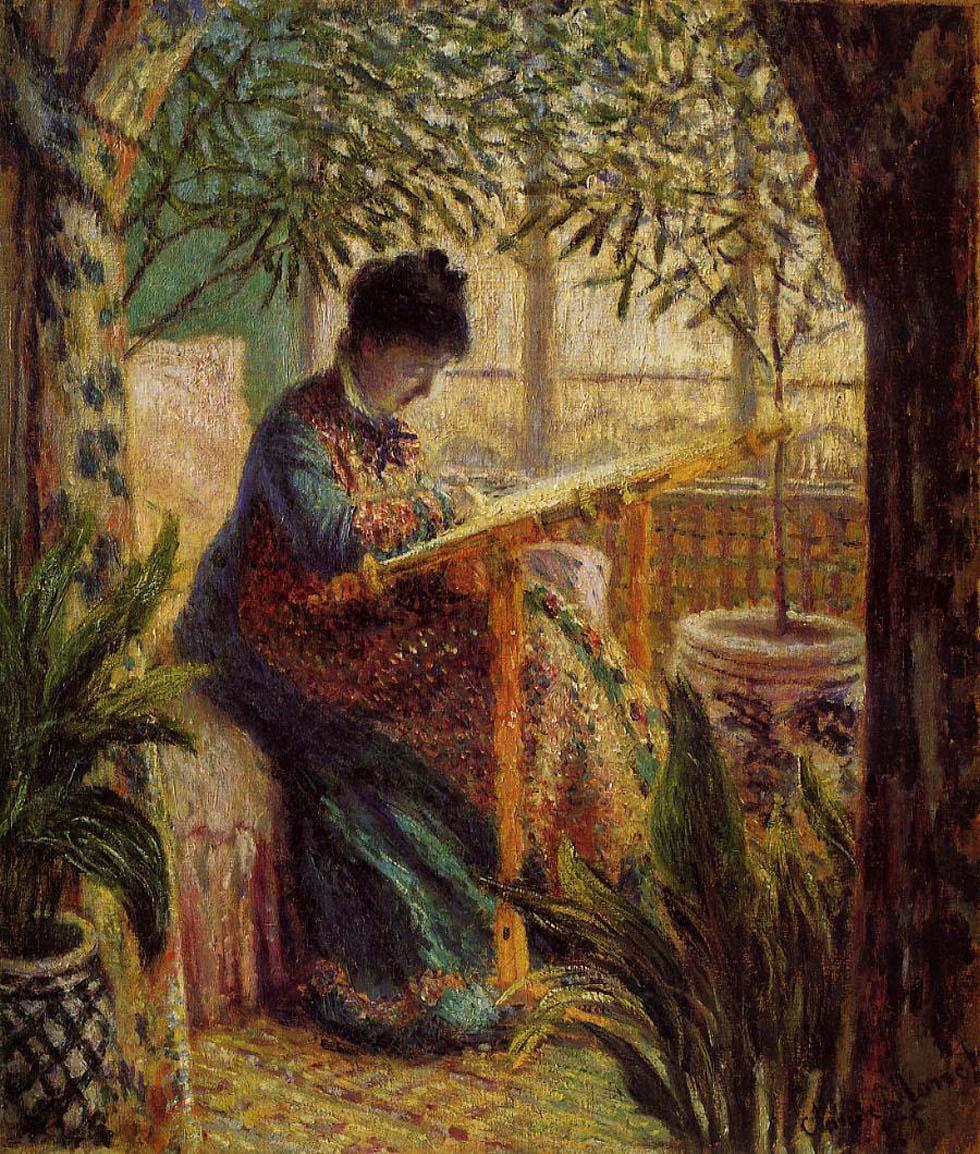 Madame Monet bordando, 1875.