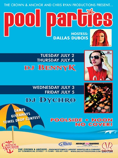 July 4th 4 Pool Party Poster Crown and Anchor Provincetown Mass
