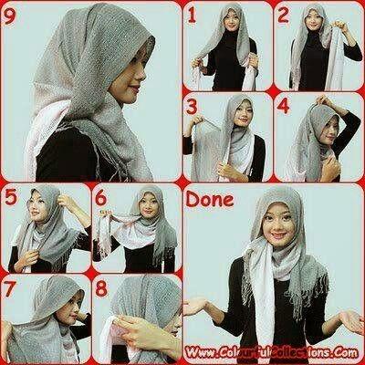 Cara Memakai Jilbab Shawl Modern Kreasi